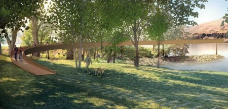 Maya Lin's walkway at Celilo Falls, as it will look. Confluence Project rendering.