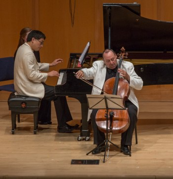 Peter Wiley and Melvin Chen perform Debussy's Sonata for Cello and Piano. Photo: Tom Emerson.