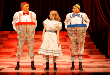 "Sanjay Talwar as Tweedledee, Trish Lindstrom as Alice, and Mike Nadajewski as Tweedledum in this season's ""Alice Through the Looking-Glass"" at Stratford. Photo: Sanjay Talwar as Tweedledee, Trish Lindström as Alice and Mike Nadajewski as Tweedledum in Alice Through the Looking-Glass."" Photo: Cylla von Tiedemann."