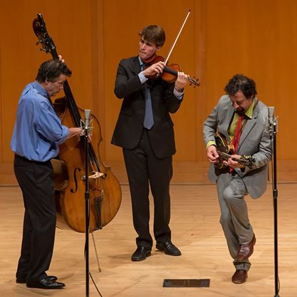 Edgar Meyer, George Meyer, and Mike Marshall performed at Chamber Music Northwest. Photo: Tom Emerson.