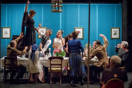 "PETE's ""The Three Sisters"" includes a birthday toast by Cristi Miles (standing on the table) to Amber Whitehall (standing center)/Owen Carey"
