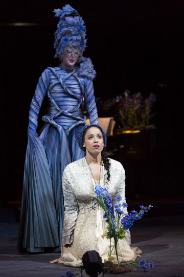 """Cinderella (Jennie Greenberry) has a helpful Fairy Godmother (Royer Bockus)  in OSF's """"Into the Woods."""" Photo  T. Charles Erickson."""