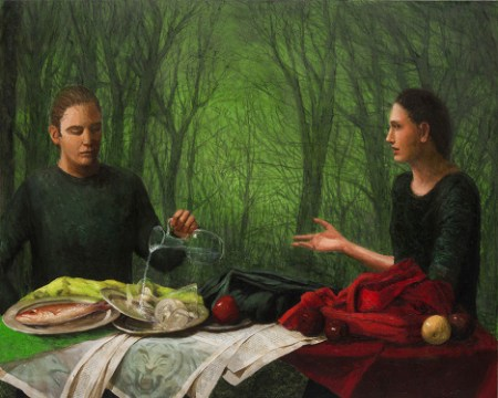 """In the forest, everything changes: Katherine Ace, """"Brother & Sister,"""" 2013, oil & charcoal on canvas, 48 x 60 inches, Froelick Gallery, Portland. Photo: Jim Lommasson"""