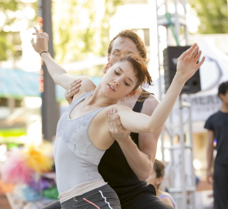 """Eva Burton and Colby Parsons rehearsing """"Never Stop Falling (In Love)"""" at OBT Exposed in Pioneer Courthouse Square in August. Photo: Blaine Truitt Covert"""