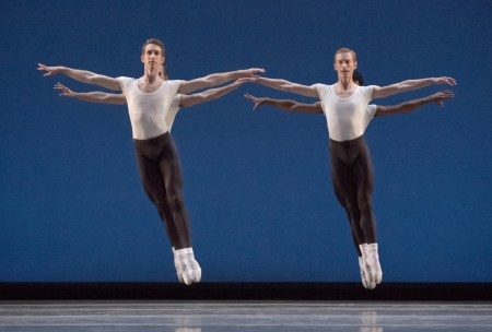 "Brian Simcoe and Chauncey Parson (foreground), Adam Hartley and Jordan Kindell (background) in Balanchine's ""Agon."" Photo: Blaine Truitt Covert"