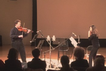 Blessinger and Tiedemann played Ralls at Third Angle's November concert.