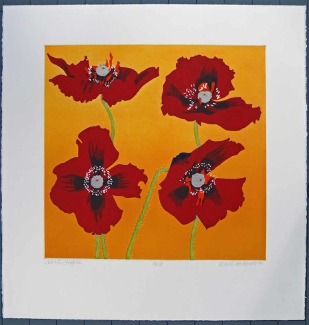 "Beth Van Hoesen (American, 1926-2010), ""Albert's Poppies,"" 1991, color aquatint, etching, and drypoint, hand colored with watercolor and gouache on moderately thick, moderately textured white wove paper, Gift of the E. Mark Adams and Beth Van Hoesen Adams Trust, © Beth Van Hoesen, 2007.60.379. Portland Art Museum"
