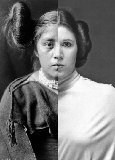 "Nicholas Galanin's ""Things are Looking Native, Native's Look Whiter,"" in the exhibit ""This Is Not a Silent Movie,"" combines an Edward S. Curtis image and a photo of Princess Leia."