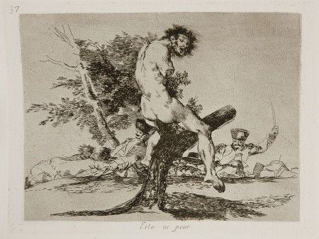 "Few artists have been as brutal in their social commentary as Goya in his ""Disasters of War"" series, of which this print is No. 37. Titled ""This Is Worse,"" it depicts the mutilated bodies of civilians skewered on trees in the aftermath of battle. Wikimedia Commons"