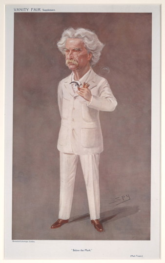 "Caricature of Twain by Leslie Ward (pen name ""Spy""), from the May 13, 1908 edition of Vanity Fair. University of Virginia Fine Arts Library/Wikimedia Commons"