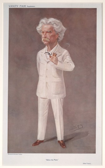 """Caricature of Twain by Leslie Ward (pen name """"Spy""""), from the May 13, 1908 edition of Vanity Fair. University of Virginia Fine Arts Library/Wikimedia Commons"""
