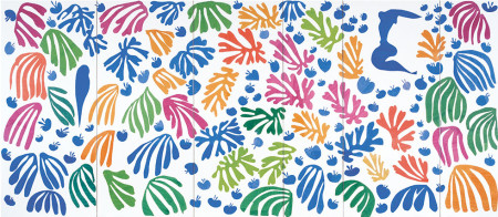 """Henri Matisse, """"The Parakeet and the Mermaid."""" 1952. Gouache on paper, cut and pasted, and charcoal on paper, 11' 11/16"""" x 25' 2 9/16"""" (337 x 768.5 cm). Stedelijk Museum, Amsterdam. Acquired with the assistance of the Vereeniging Rembrandt and the Prince Bernhard Cultuurfond"""