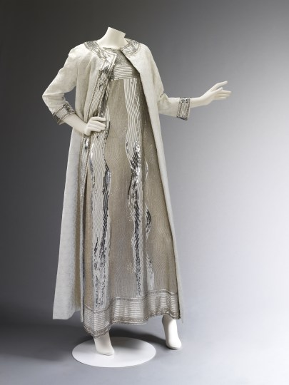 Mila Schon sequinned evening dress and silk coat . Worn and given by Princess Stanislaus Radziwill. Worn to Truman Capote's Black and White Ball, 1966. Photo © Victoria and Albert Museum, London.