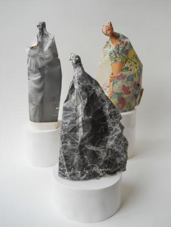 Cynthia Lahti, THREE WOMEN (detail), 2011, Paper on clay base