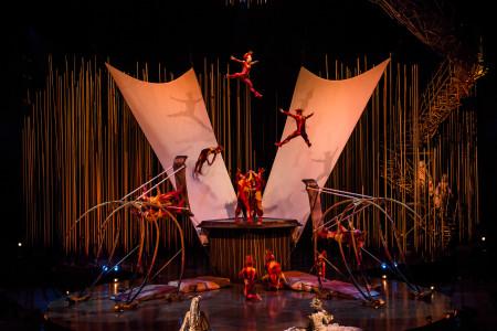 "The Russian Swings act from ""Varekai."" Photo: Martin Girard / shootstudio.ca Costumes: Eiko Ishioka © 2014 Cirque du Soleil"