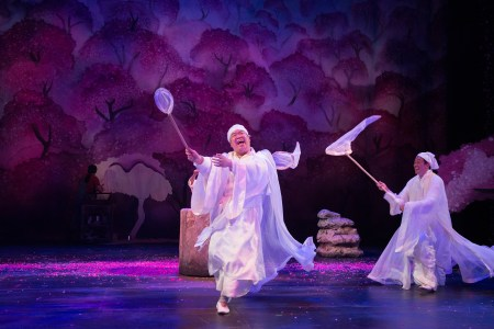 Tao (Eugene Ma, left) frolics in Peach Blossom Land with Man in White (Paul Juhn). Photo: Jenny Graham.