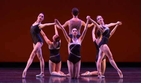 "From left: Paige Wilkey, Samantha Baybado, Alexander Negron, Emma-Anne Bauman, Emily Parker, and Jessica Lind in the School of Oregon Ballet Theatre's world premiere of Alison Roper's ""Luxe, Calme et Volupté."" Photo: Yi Yin"