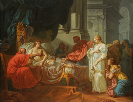 Jacques-Louis David, Erasistratus Discovers the Cause of Antiochus's Disease, 1774, Oil on canvas, 47 1/4 x 61 in., École des Beaux-Arts, Paris (PRP 18), Courtesy American Federation of Arts