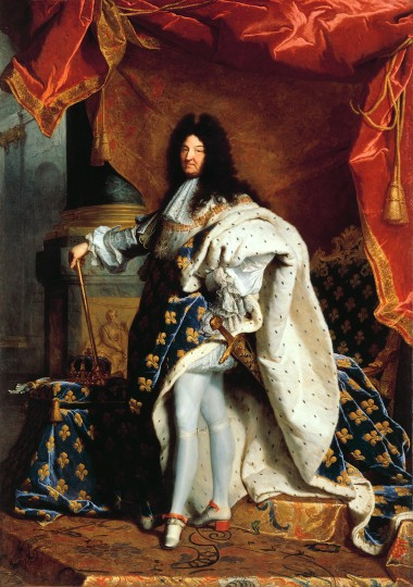 """Hyacinthe Rigaud's original portrait of Louis XIV, 1702, oil on canvas, 109.1 x 76.4 inches, in the Louvre Museum. A giant copy, painted before 1838, is a centerpiece of """"Gods & Heroes."""""""