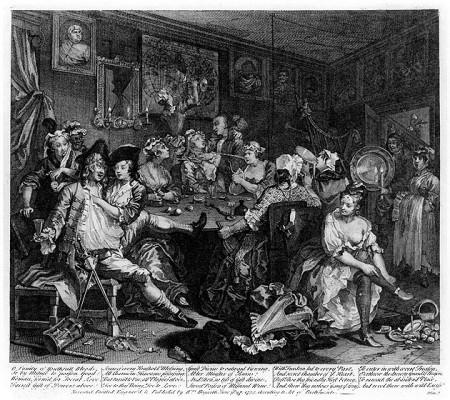 "William Hogarth, ""A Rake's Progress,"" Plate 3: ""The Tavern Scene,"" Engraving, 1735"