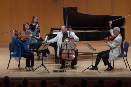 Opus One performs Brahms's Piano Quartet No. 2 in A Major, Op. 26 at Chamber Music Northwest. Photo by Tom Emerson.