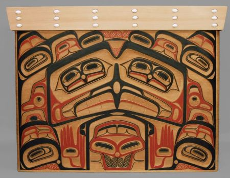 """Eagle & Human Bentwood Chest,"" David Boxley, Tsimshian Nation, 2012, 26.5 x 34 x 18 inches, red cedar, operculum shells, pigment, Portland Art Museum purchase from Quintana Galleries"