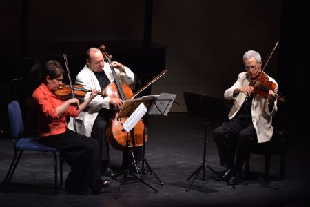 Ida Kavafian, Peter Wiley, and Steven Tenenbom played Bach at Chamber Music Northwest. Photo: Jonathan Lange.