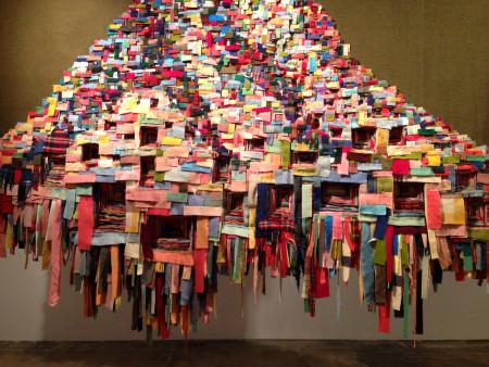 "Marie Watt, ""Generous Ones: Chair, Observer, Ancestor,"" 2015; 75 × 164.5 inches. Reclaimed wool blankets, thread. Photo: Laura Grimes"
