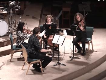 Delgani String Quartet includes Kelly Quesada (cello), Morgan O'Shaughnessey (violin), Wyatt True (violin) , and Jannie Wei (violin).
