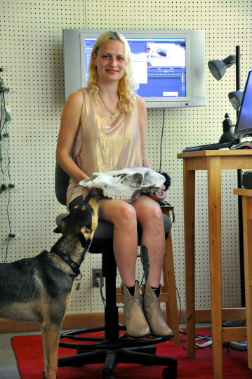 Julia Oldham in her Eugene, Oregon studio with companion, Yarn. Image Sabina Poole.