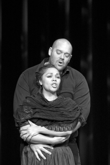 "Brendan Tuohy as Quint and Tess Altiveros as Ms. Jessel in Eugene Opera's production of 'The Turn of the Screw."" Photo: CliffColes / EugeneOpera."