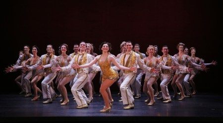 Caitlin Ehlinger as Peggy Sawyer (center) and the company of 42nd Street. Photo by Chris Bennion.