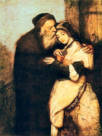 "Yiddish theater changed our view of Shylock. ""Shylock and Jessica,"" Maurycy Gottlieb, oil on canvas, 166.5 × 109.5 cm"