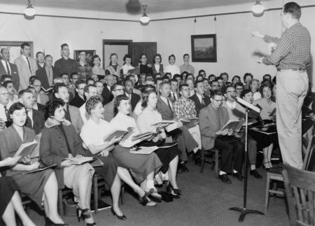 C. Robert Zimmerman conducting the Portland Symphonic Choir in November 1956.