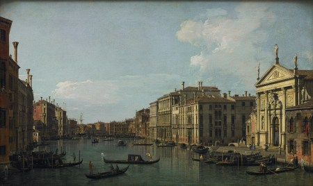 "Canaletto (Giovanni Antonio Canal) (Italian, 1697–1768), ""The Grand Canal, Venice, Looking Southeast from San Stae to the Fabbriche Nuove di Rialto,"" ca. 1738. Oil on canvas, 18 1/2 × 30 5/8 inches. Courtesy of the Paul G. Allen Family Collection."