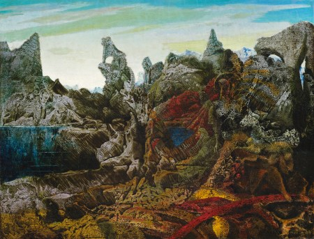 "Max Ernst (German, 1891–1976), ""Landscape with Lake and Chimeras (Paysage avec lac et chimères)"", ca. 1940. Oil on canvas, 20 × 26 inches. Courtesy of the Paul G. Allen Family Collection."