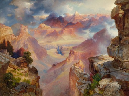 Thomas Moran, Grand Canyon of Arizona at Sunset, 1909, oil on canvas, 30 x 40 inches. Courtesy of the Paul G. Allen Family Collection.