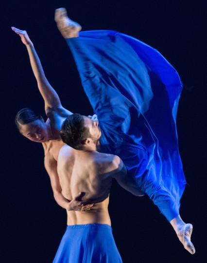 """Wong with Elijah Labay in Lucas Crandall's """"Blue."""" Photo: Blaine Truitt Covert"""