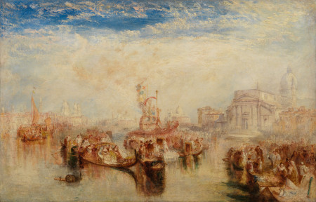 """Joseph Mallord William Turner (English, 1775–1851), """"Depositing of John Bellini's Three Pictures in La Chiesa Redentore, Venice ,"""" 1841. Oil on canvas, 29 × 45 1/2 inches. Courtesy of the Paul G. Allen Family Collection."""