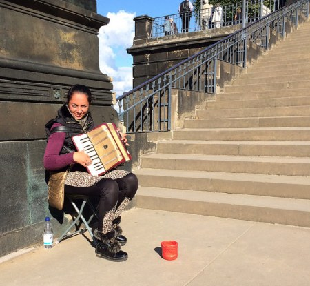 accordionist on steps