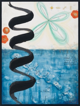 """""""Shape of Nature: Linus Pauling's α-Helix,"""" Kindra Crick, 2015. Graphite, India ink, gouache, watercolor, encaustic, and oil bar on birch panel"""