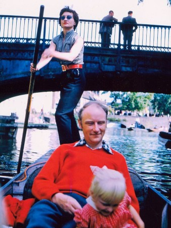 Odile Crick, Francis Crick and daughter Jacqueline punting on the Cam in Cambridge, England around 1957.