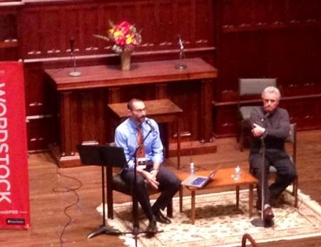 OPB's Dave Miller interviews novelist John Irving at Wordstock 2015./Angie Jabine