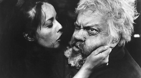 """Jeanne Moreau and Orson Welles as Falstaff in """"Chimes of Midnight."""" Courtesy of the Northwest Film Center"""