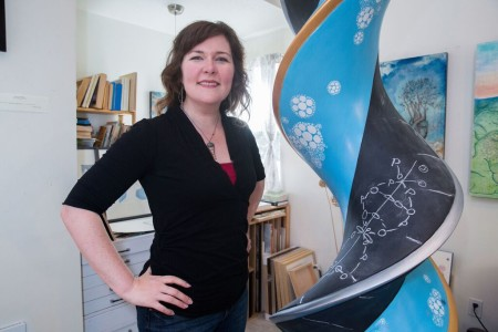 """Kindra Crick with """"What Mad Pursuit"""" in her Portland studio. Photo: Alex Crick"""