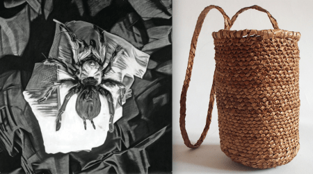 "Left: ""Comedie 3,"" Shlby Shadwell, 2015; charcoal and conte on prepared linen, 85 x 85 inches. Right: right: ""Boy Huckleberry Basket,"" Sara Siestreem, 2013, red cedar bark. Photos courtesy of the artists."