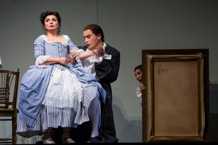 Nuccia Focile (Susanna), Morgan Smith (Count Almaviva) and Karin Mushegain (Cherubino) in 'The Marriage of Figaro.' Photo: Tuffer.