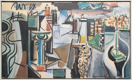 "Louis Bunce, ""Study for Fleet Mural,"" c. 1960, oil and mixed media on paper mounted on masonite, 25 x 41 inches. In ""Looking Back: Northwest Icons"" at Laura Russo."