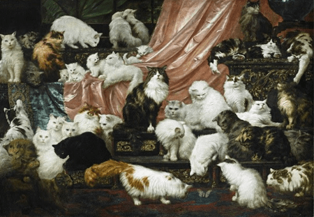 """""""My Wife's Lovers,"""" Carl Kahler, 1891, oil on canvas, 6 feet x 8.5 feet. Collection of John and Heather Mozart."""