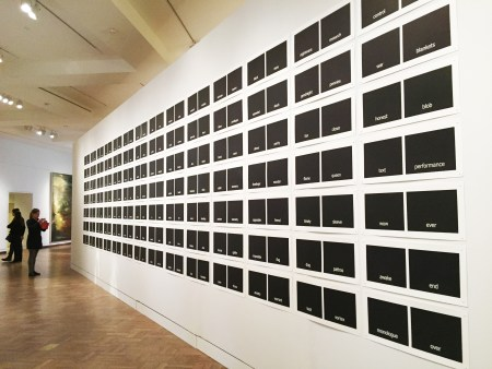 Victoria Haven, Subtitles, 2015, woodblock prints, each image 12x27 ¾ inches. Photo: Paul Sutinen
